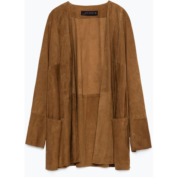 Zara Suede Jacket found on Polyvore featuring outerwear, jackets, cardigans, coats, tops, camel, suede leather jacket, brown jacket, camel jacket and brown suede jacket