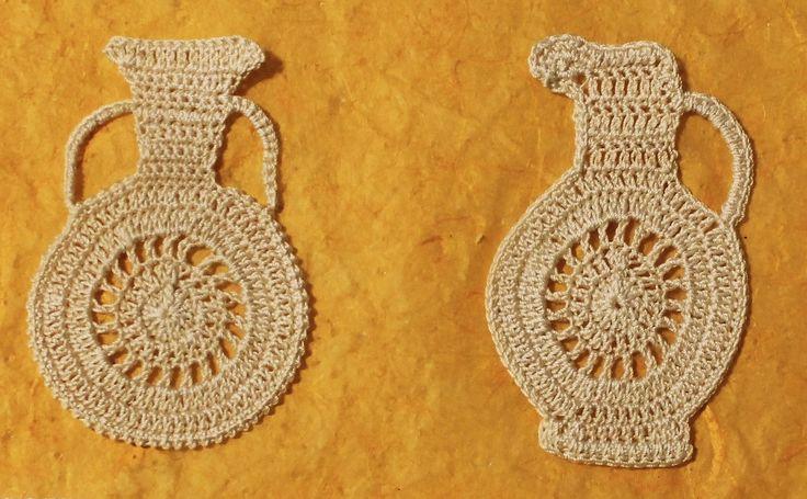 4 Crochet Greek Vases...free Irish crochet pattern!