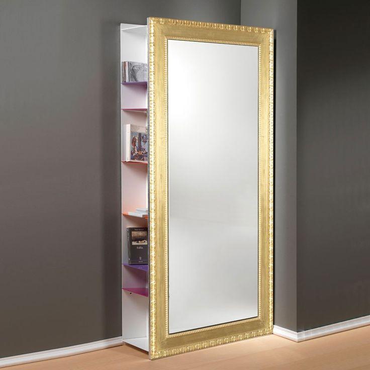 Specchiera Angolo Rettangolo da parete cornice foglia Oro Argento cm.97x192h