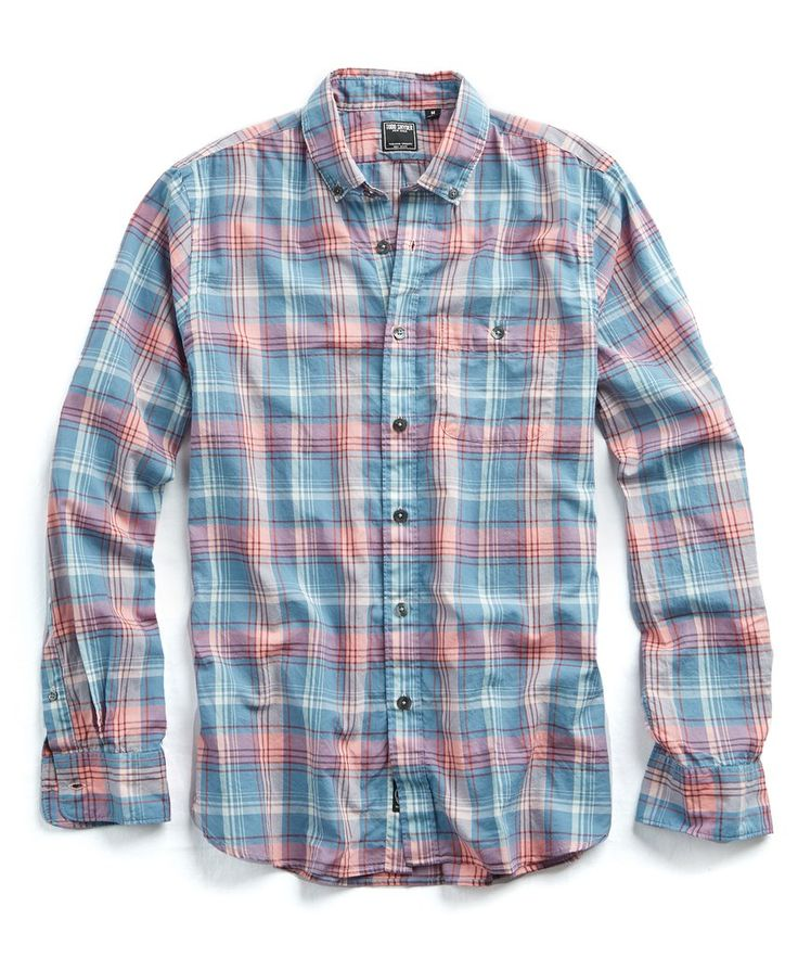 Slim Fit Blue and Pink Madras Shirt