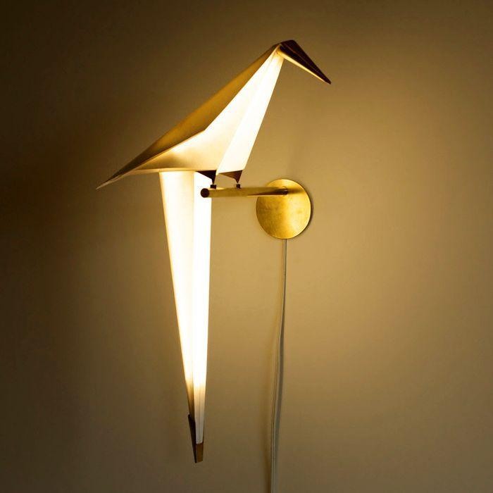 оригами светильник в виде птицы