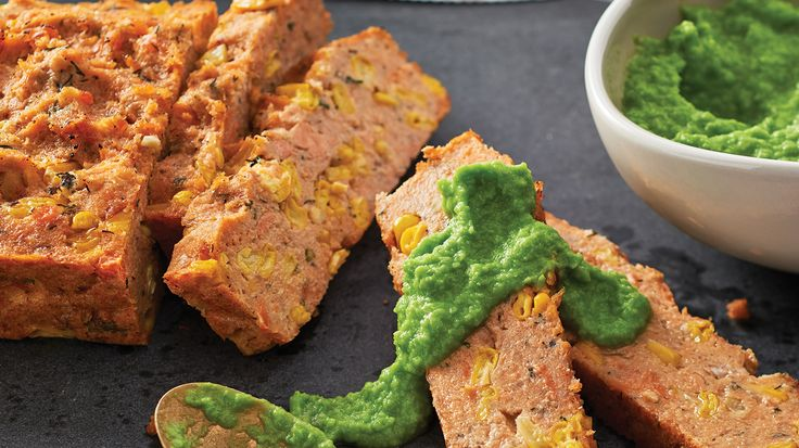 Salmon & Corn Loaf with Wasabi Pea Purée