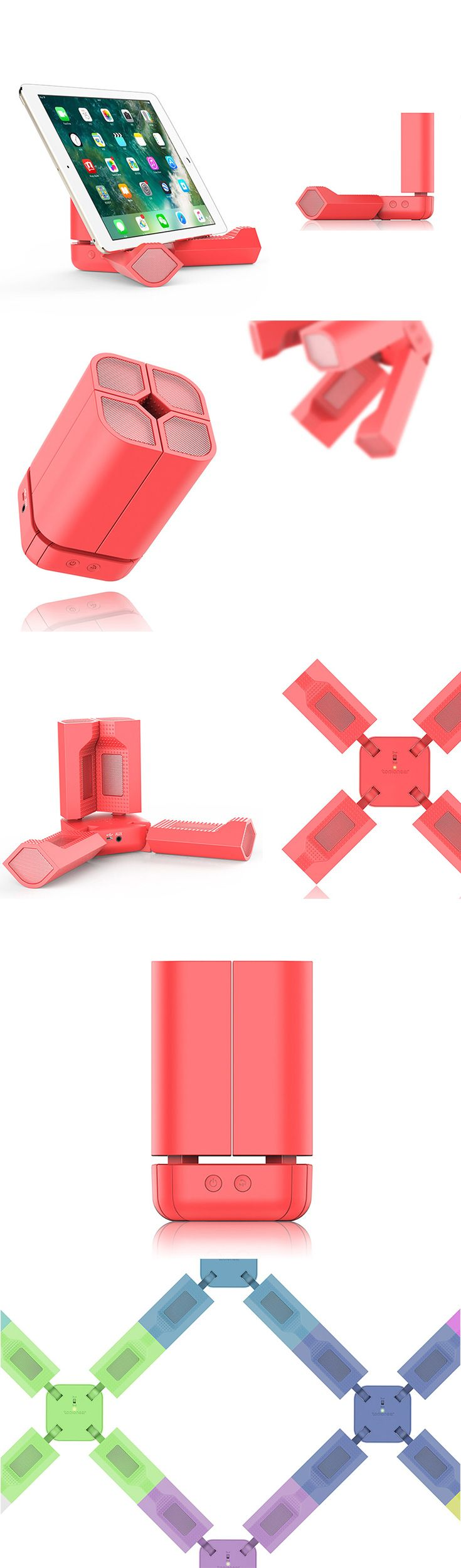 The TransSpeaker aims to be a multifunctional friend! Composed of 4 speaker columns that can be individually adjusted, it can be reconfigured into an unlimited number of different forms for a variety of applications. Fold it up to a surprisingly compact size and take it with you anywhere!