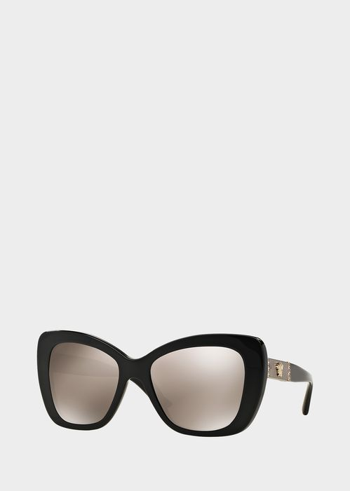 Trendy Cat's Eye Retro Cat Lunettes Lady Lunettes de Soleil , Noir Gris Cadre Blanc Double Gris