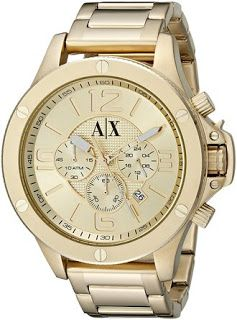 Armani Exchange Watch: Armani Exchange Men's AX1504 Analog Display Analog Quartz Gold Watch Band Width: 22 mm Case Size: 48 mm Analog-quartz Movement Case Diameter: 48mm Water Resistant To 330 Feet Cost : $ 230
