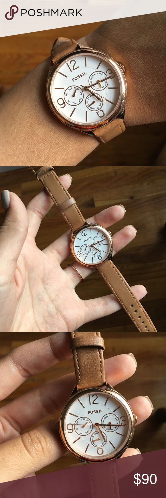 Fossil Watch Women's Fossil watch in style number BQ3118. Only worn twice, perfect condition. Chronograph style, with the date and military time feature. Rose gold hardware and 14mm leather strap. Fossil Accessories Watches