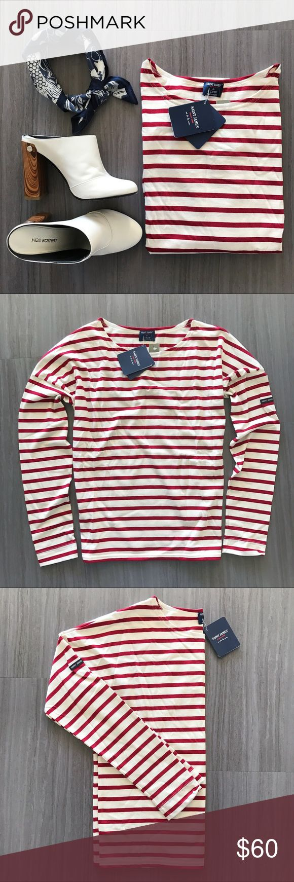 Saint James slouchy striped top This red and off-white striped top is perfectly slouchy and oh-so-soft. This color combo was done in collaboration with J. Crew. Model (4th) photo shows fit. Brand new with tags! Saint James Tops