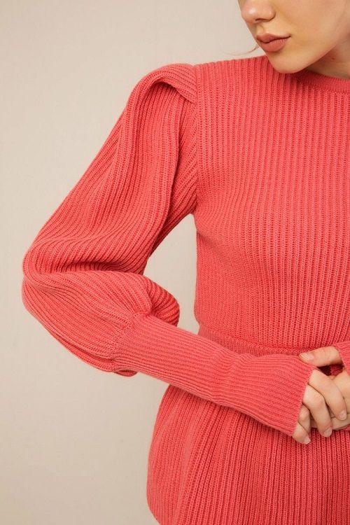 Zini peplum κόκκινο πουλόβερ