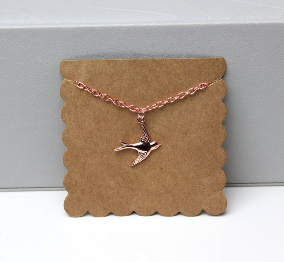 Rose Gold Swallow Necklace All my rose gold chains & pendants are rose gold filled & look beautiful in person. The chain length is 16 inches with an extender so you can make it longer. Each necklace comes packaged on scalloped card, wrapped in tissue paper, in a gold polka dot box #rosegoldnecklace