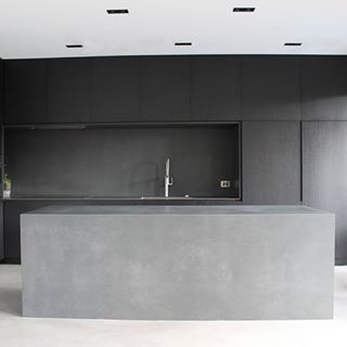 Your kitchen could transform into this modern style kitchen. It features a #concrete style countertop coated with SEMCO and contemporary seamless floors.
