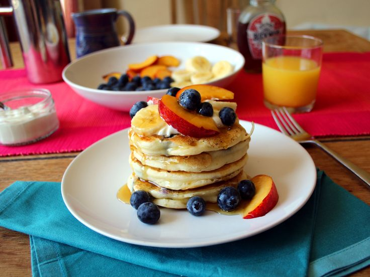 Gluten free blueberry pancakes with fruit