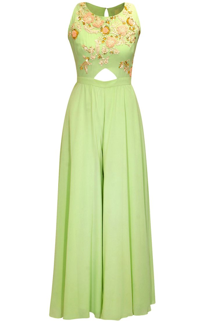 Pistachio green embroidered cut out jumpsuit by Aneesh Agarwaal.     Shop now:  http://www.perniaspopupshop.com/designers/aneesh-agarwaal  #shopnow #perniaspopupshop #aneeshagarwaal