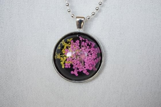 Round She Goes  Handmade Jewellery - Market Place - Pink and Yellow Flower Silver Round Pendant Necklace
