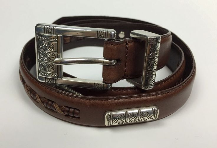 Fossil Womens #Belt Leather Buckle Conchos & Braided Details Brown Size L Western #Fossil