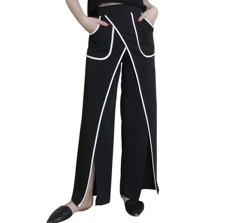 European Style Loose Straight Black Pants