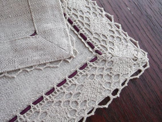 Set of 4 rustic placemats - Farmhouse placemats - Rectangle placemats with lace border - Natural fabric placemats. This listing is for a Set of four (4) linen lace border table mats. This set of rustic placemats will be perfect housewarming gift. Hancrafted of natural, medium weight