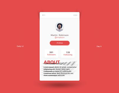 "Check out new work on my @Behance portfolio: ""Daily UI Challenge - Day 6"" http://be.net/gallery/54629451/Daily-UI-Challenge-Day-6"