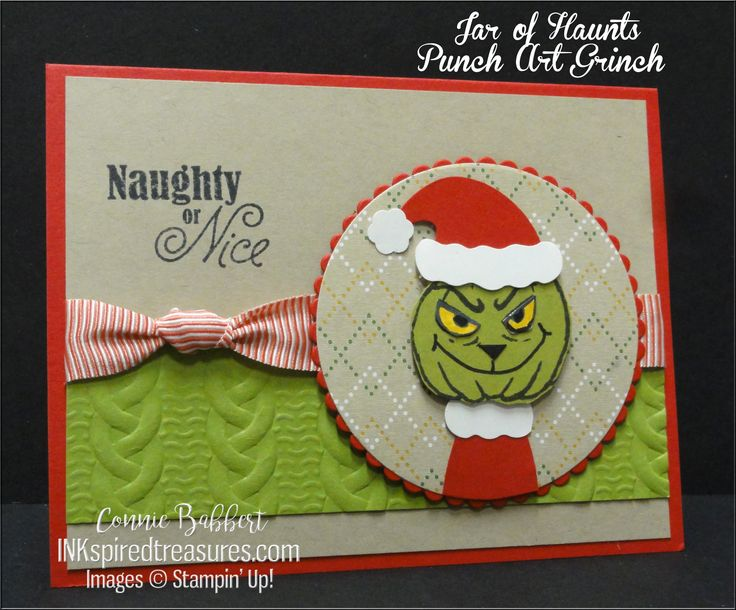 The Grinch made from the Jar of Haunts pumpkin and spooky eyes.  Stampin' Up!, #stampinup, created by Connie Babbert, www.inkspiredtreasures.com