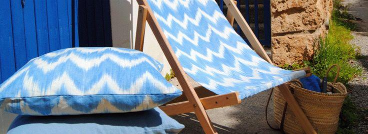 Handmade deckchairs with bold textiles. #summer #mediterranean