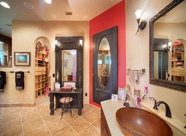 Absolutely LOVE this bathroom. Check out the door turned into a full length mirror, a door they door into a vanity (door knobs hold necklaces!) , and that sink!!!!