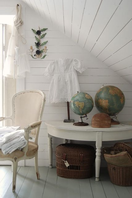 I could really use a table like this...the globes make a nice addition to this room.  HVÍTUR LAKKRÍS