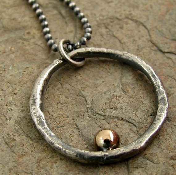 Mixed Metal Gold & Silver Mens Necklace, Mens Sterling Silver Necklace with Silver Circle Pendant for Men, Karma Necklace for Men O Pendant