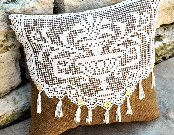 Vintage Crochet and Burlap Pillow by YellowBugBoutique on Etsy
