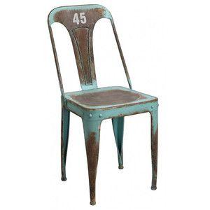 Metalowe krzesło Loft. Oryginalna kolorystyka i charakterystyczne dla stylu industrialnego wzornictwo. Krzesło ma liczne przetarcia farby, co dodatkowo podkreśla jego industrialny charakter. #vintage #industrial #outdoor #belldeco