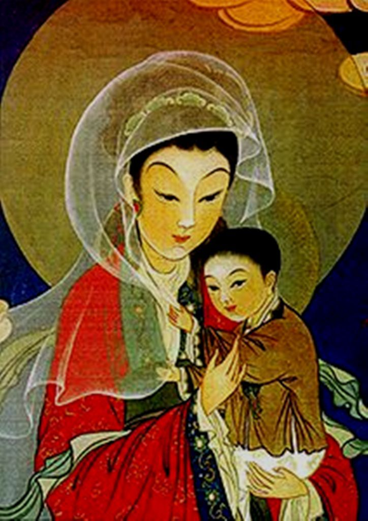 Madonna and child Jesus in an Asian art form.