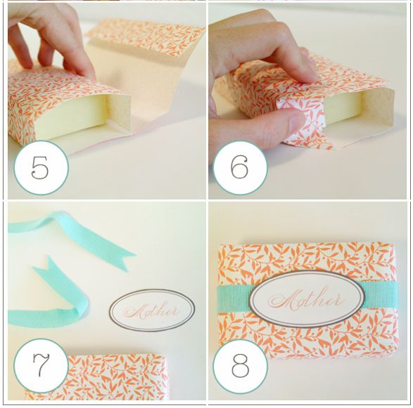 DIY spa party favor: pretty paper-wrapped soap