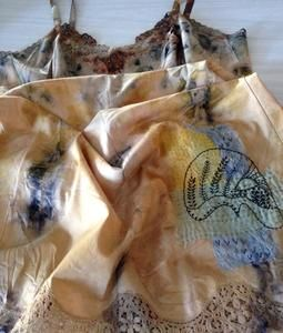 'The masks we wear' - limited edition range of hand embroidered eco dyed vintage slips by Rita Summers