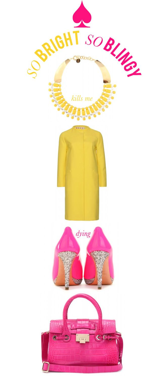 .: Colors Combos, Email Newsletter, Happy Colors, Yellow And Pink Fashion, Pink Shoes, The, Coats, Bags, Blingy Sparkly