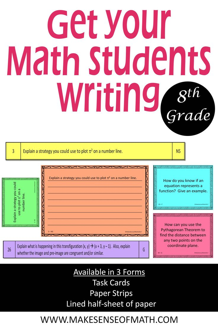 Looking to get your math students writing more? These prompts are perfect to get them thinking about math. 8th math prompts in three forms. All ready to go, just print and cut. Click here for more information.