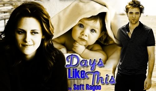 Days Like This by Soft Ragoo (Friendship/Family) - Bella and her newborn adjust to their life together but it seems everywhere they go, they encounter the same man with the captivating eyes and sexy smile. Edward's life lacks something he desires. Has he been handed a challenge or a reward?  A super sweet Edward who romances Bella and her newborn daughter ... one of my favorite Edward's ever!