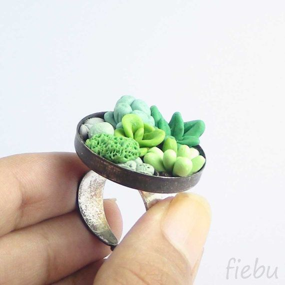 Polymer clay succulent arrangement on your finger! :)