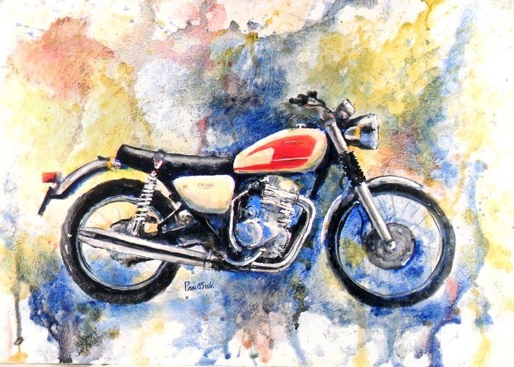 Acrylic-color, moto, #motoart, classic_bike, #moto_painting, honda, hand_drawing
