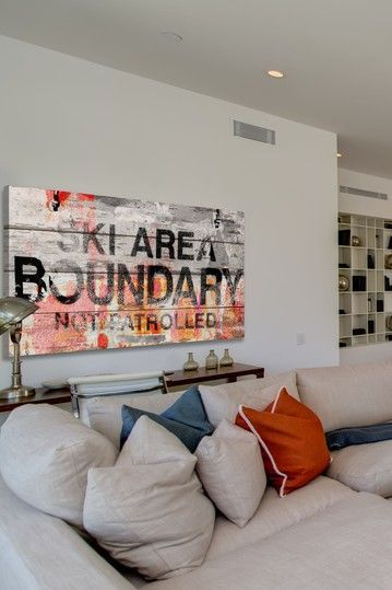 Ski area boundary wall art on white barn siding by marmont hill inc on