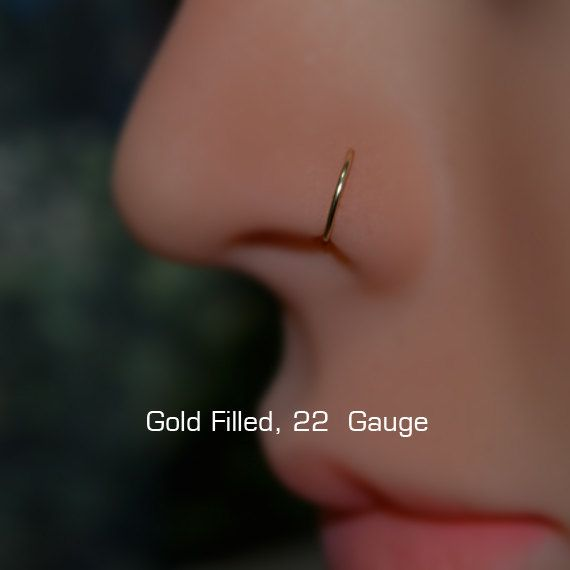 NOSE RING septum ring 7mm Small Gold Hoop by ModernJewelBoutique