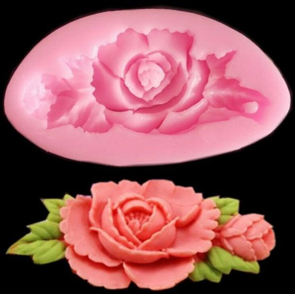 3D Silicone Rose Flower Cake Mould Soap Chocolate Resin Mould Random Color #Unbranded