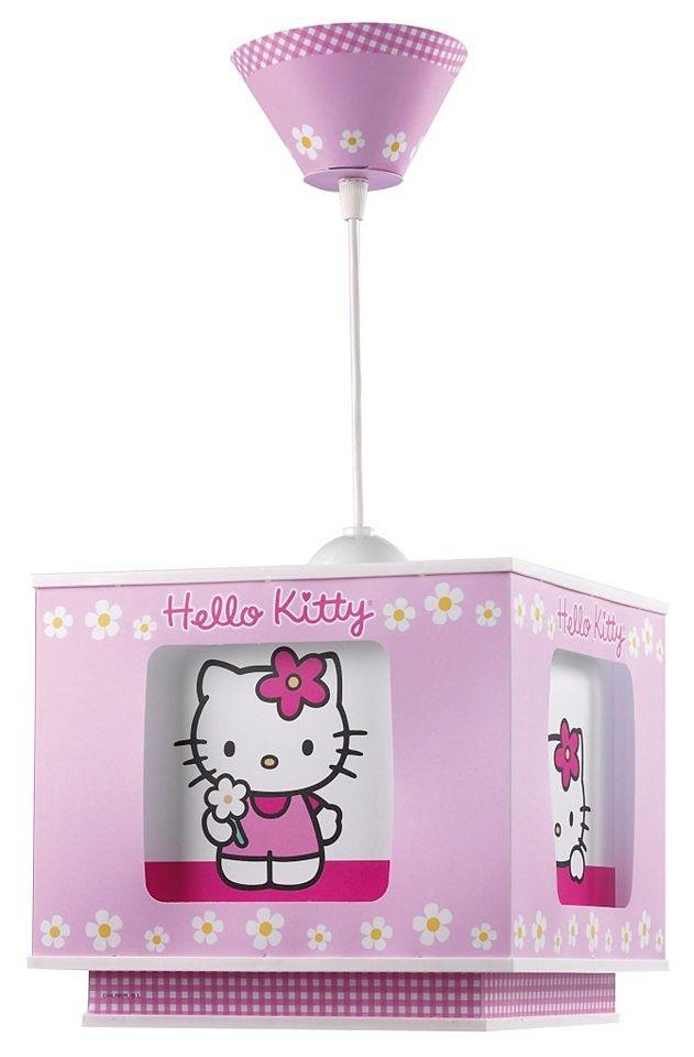 Lámpara colgante techo cuadrada de la Hello Kitty color rosa.