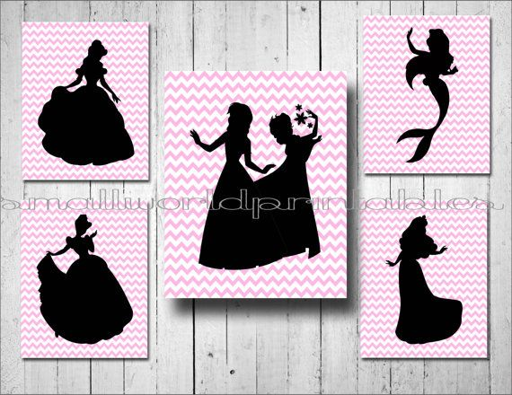 INSTANT DOWNLOAD Pink Chevron by SmallWorldPrintables on Etsy Disney princess silhouettes Anna Elsa Cinderella Belle digital printable wall art girls room Princess party Disney vacation