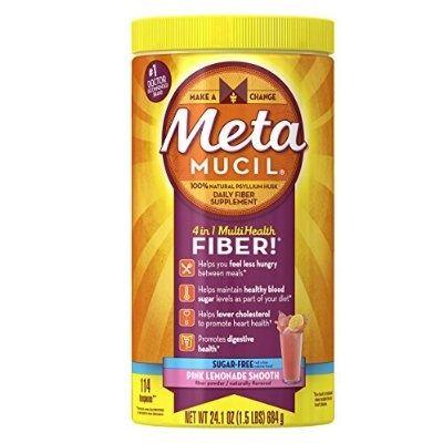 Metamucil Psyllium Fiber Supplement Pink Lemonade Sugar Free Smooth Texture Powder 114 Doses, 24.1 Ounce - For Sale