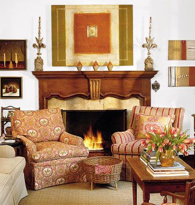 Nice furniture arrangement in front of fireplace