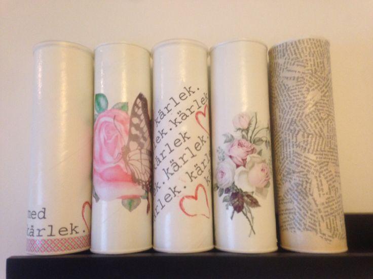 Ännu fler pringlesrör ❤️ Dessa har jag spraymålat och sedan gjort decoupage på  #pringles#decoupage