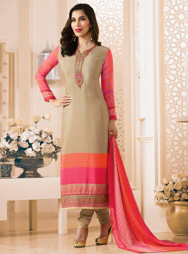 Sophie Choudry Beige Crepe Churidar Salwar Suit 105153