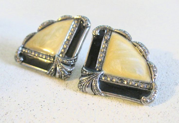 Vintage earrings art deco inspired silver black fan shaped marcasite jewelry posted earrings special occasion fashion accessory under 20 by ToucheVintage on Etsy