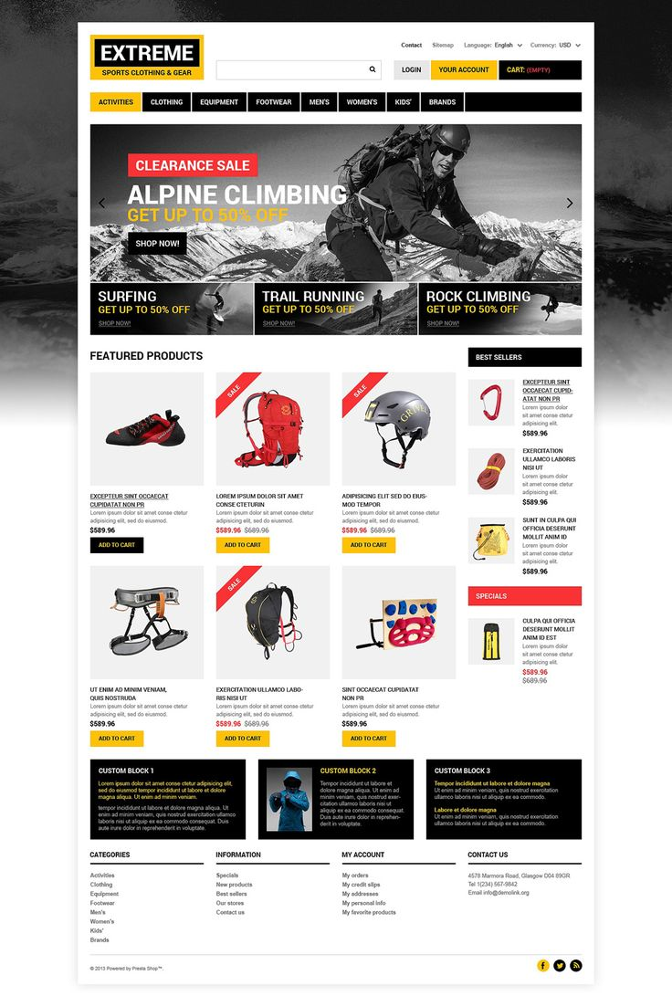 12+ Excellent Sports Equipment Store Themes for PrestaShop - Extreme Sports Clothing Store