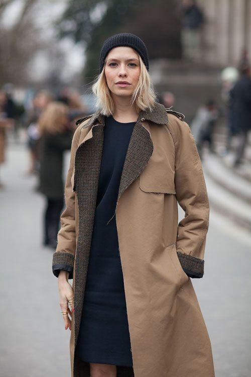 Brown coat.
