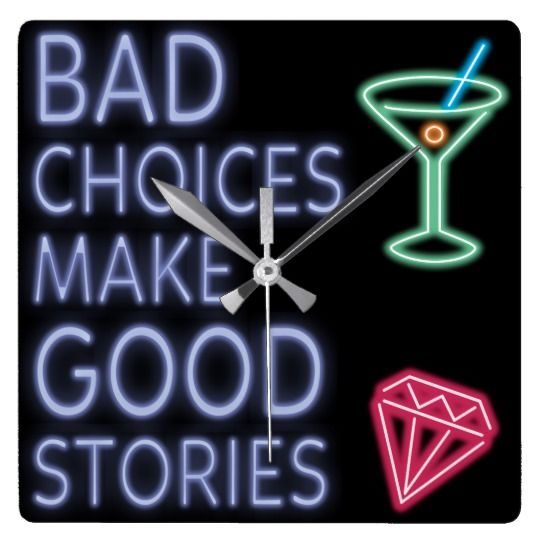 Bad Choices   Neon Funny Quote Square Wall Clock