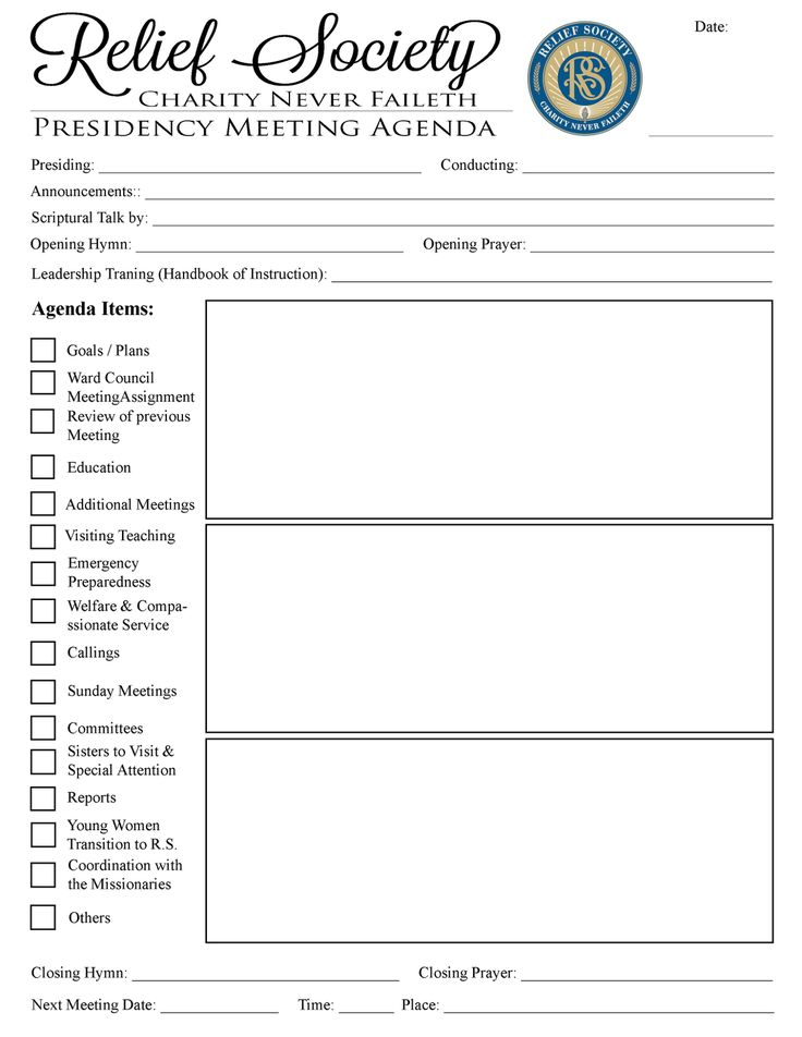 I made a meeting agenda for the Relief Society Presidency. It has been in my mind to help them in their meetings. In this way, important th...